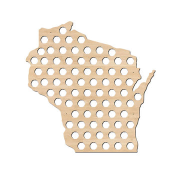 Wisconsin Beer Cap Map  - Craft Beer Bottle Cap Holder - WI Beer Cap Collector Art