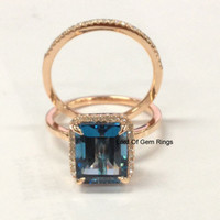 Topaz Wedding Ring Sets!8x10 London Blue,Diamond Engagement Ring,14K Rose Gold