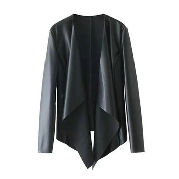 2 Colors PU Leather Waterfall Front Wide Lapel Jacket Autumn Women Long Sleeve Clipping Hem Brief High Street Style Coat