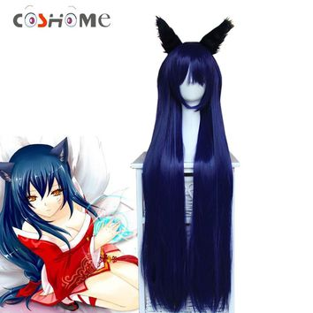 Coshome LOL Ahri Cosplay Costume Wigs Peluca The Nine-Tailed Fox Women Long Dark Blue Straight Hair With Ears Headwears
