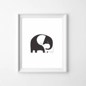 Mommy and Baby Elephant Art Print