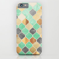 Charcoal, Mint, Wood & Gold Moroccan Pattern iPhone & iPod Case by Micklyn