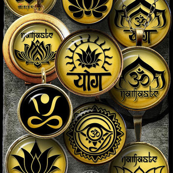 Yoga Lotus, Buddhism, Namaste. Digital Collage Sheets - 20mm, 18mm, 16mm, 14mm, 12mm circles - Digital Downloads for Jewelry, Crafts CG-985C