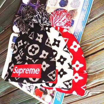 LV x Supreme Woman Men Fashion Winter Knit Cap Hat