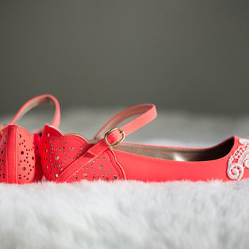 Neon Coral Ballet Flats, Wedding Flats, Bridal flats, Lace Flats, Wedding Shoes with Ivory Lace. US Size 8.5