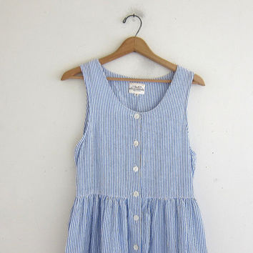 Vintage blue and white seersucker dress / button front sundress