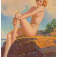 Sunbathing Pin-up Girl Poster 11x17