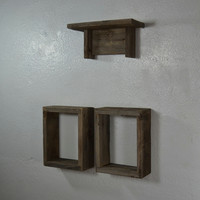 Cute set of reclaimed wood wall shelves  set of 3 great rustic kitchen decor