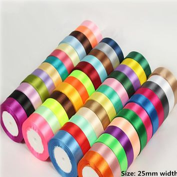 High-quality  25mm 25 Yard Silk Satin Ribbons Wedding Party Decoration Gift Craft Sewing art Fabric Ribbon Cloth Tape DIY