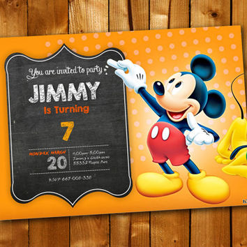 Mickey Mouse Chalkboard, Birthday Invitation, Birthday Party for little boy and little girl