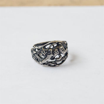 Bobcat Ring Metal Silver plated Brass Casting Ring Size 7,5