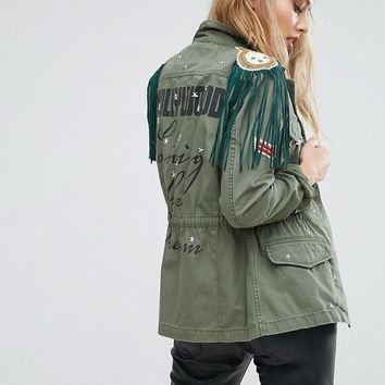 Replay Hollywood Army JackeT with Stud and Fringing at asos.com