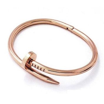 'Nikki Nailed It' Cuff Bangle Bracelet-Rose Gold