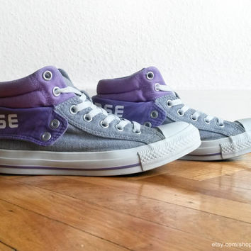 Light purple and grey Converse All Stars, with double uppers and padded collar, vintage Chucks. Size 39 (UK 6, US women's 8, US men's 6)