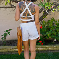 White Reversed Caged Crop Top