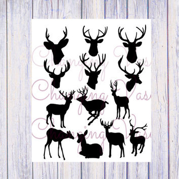 Instant Digital Download Deer Head Silhouettes Buck Doe Stag Animal ClipArt Clip Art Graphic Illustration Vector Transfer Overlay CU Ok