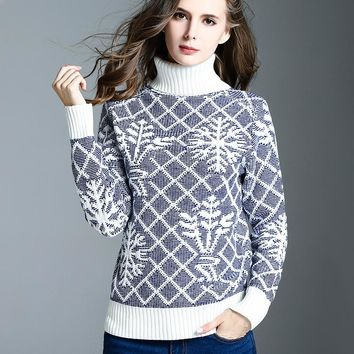 Autumn Winter New Style Flower Argyle Letter Knitted Turtleneck Sweater Fashion Women Clothing Long Sleeve Knitwear Jumper