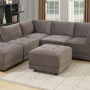 Poundex F803 6 pc Clayton II collection charcoal waffle suede upholstered modular sectional sofa