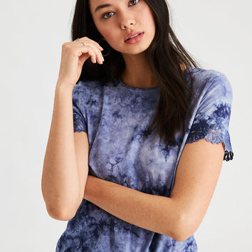 AE Soft & Sexy Tie Dye Lace Trim T-Shirt, Blue