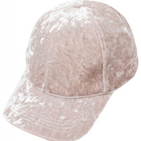 Crushed Velvet Beige Valentine's Day Baseball Hat