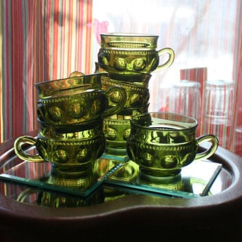 Set of 6 ~ Vintage Glass Green Tea Cups Handled Goblets Glasses Tumblers