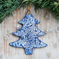 Christmas Gift Tree decoration ornaments in white lace texture with navy blue varnish and gold  thread Holiday decor tree