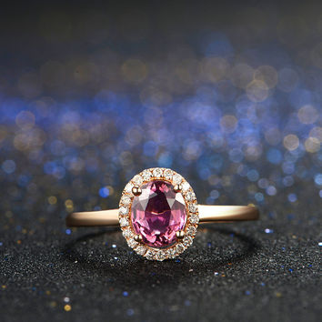 Rubellite Red Tourmaline Diamond Ring in 18k Rose Gold Engagement Wedding Birthday Anniversary Valentine's