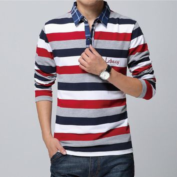Autumn Spring Long Sleeve Men T shirt Casual Outdoors Stripe