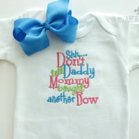 Baby Girls or Girls Bodysuit and Bow - Baby Shower Gifts - Funny Boutique Clothing - Daddy - Mommy - Bow Addict - Long Sleeve - Short