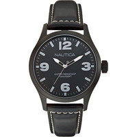 Nautica A13613G BFD 102 Classic Analog Black Anodized Round Men's Leather Watch