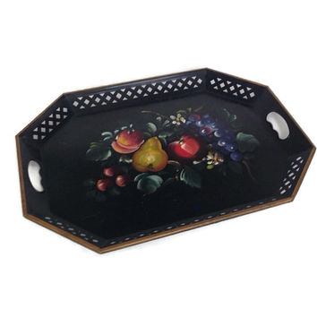Vintage Tole Tray-Hand Painted Fruit-Toleware-Rectangular-Cut Out Sides-Large-Metal Tray-Nashco-Serving Tray-Tole Painting