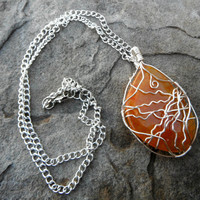 Dragon Vein Wire Wrapped Necklace - freeform agate stone - wire wrapped jewelry handmade, gemstone jewelry, semiprecious, statement necklace