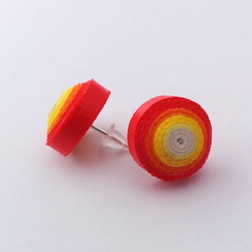 Orange stud earrings, colorful paper quilled earrings; round studs in yellow, orange and red