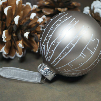 Carve Your Initials in a Tree – Keepsake Hand Painted Titanium Glass Christmas Ornament, Great Gift for Wedding, Anniversary, 1st Christmas