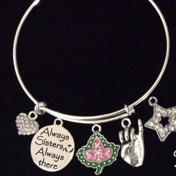 Custom Always Sisters AKA Alpha Kappa Alpha Sorority Adjustable Charm Bracelet Expandable Silver Wire Bangle Ivy Pinky Gift One Size Fits All
