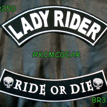 Lady Rider Ride or Die Embroidered Patches Sew on Patches Motorcycle Biker Patch Set for Jacket
