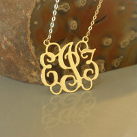 """Gold Monogram Necklace - 18k Gold Plated 1.75"""" Inch - Free shipping Christmas Gift"""
