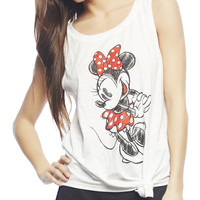 Sketched Minnie Side Tie Tank | Wet Seal