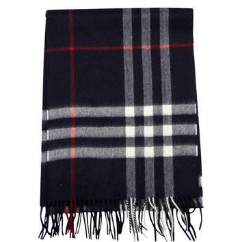 Burberry Check Cashmere Navy Woven Mufflers Scarf