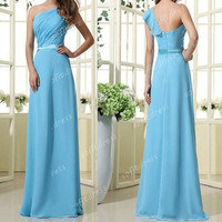 cheap prom dresses, blue prom dress, elegant prom dresses, one shoulder prom dress, blue bridesmaid dresses, evening dresses, BE0385