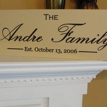 Family name sign Shabby Chic Engraved Custom by michaelswoodworks