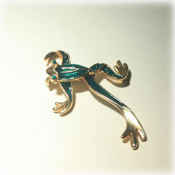 Frog Pin, Articulated Pin, Frog Brooch, Playful Pin, Frog Jewelry, Figural Pin