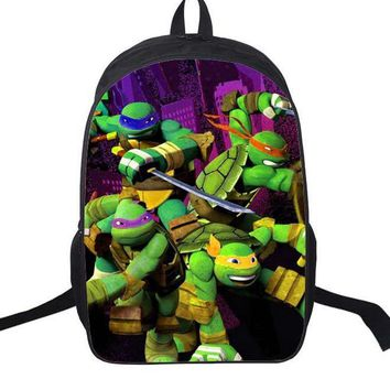 16 Inch Anime Teenage Mutant Ninja Turtles Nylon Backpack Cartoon School Bag Student Bags Double Shoulder Boy Girls Schoolbag