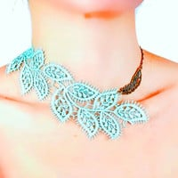 SALE statement necklace// blue leaves lace bib // acqa hand dyed // boho chic wearable art jewelry gift