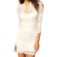Keral Women's Sexy Lace V Neck Dress Large Color White