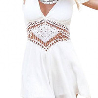 White Ruffled Trim Sleeve Romper