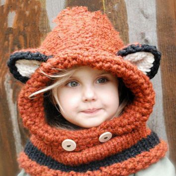 fox winter beanie baby kid animal warm cat hat hooded scarf earflap knitted wool gift  number 1