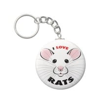 I Love Rats Keychain from Zazzle.com