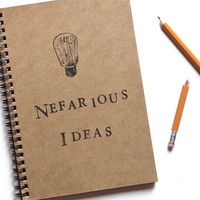 Nefarious Ideas hand stamped notebook spiral journal by BrownBooks