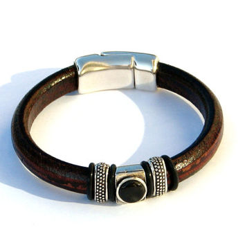 "Mens Bracelet, Leather Bracelet, Tribal Bracelet, Regaliz Leather Bracelet, Brown Bracelet, Rugged Mens Bracelet, Leather Jewelry, ""NITRO"""
